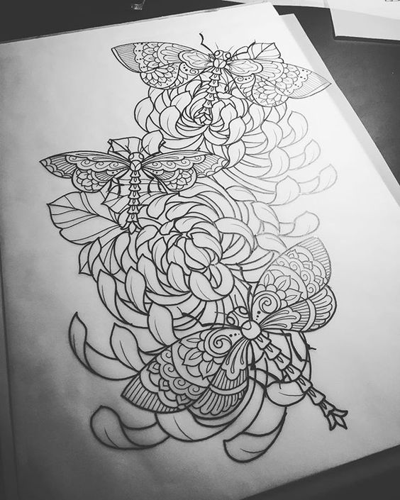 Charming black-and-white dragonflies flying over peony flowers tattoo design