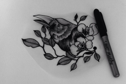Charming black-and-white raven head and flowers tattoo design
