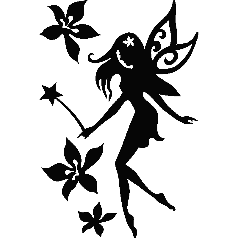 Charming black-ink fairy with a wand and falling flowers tattoo design