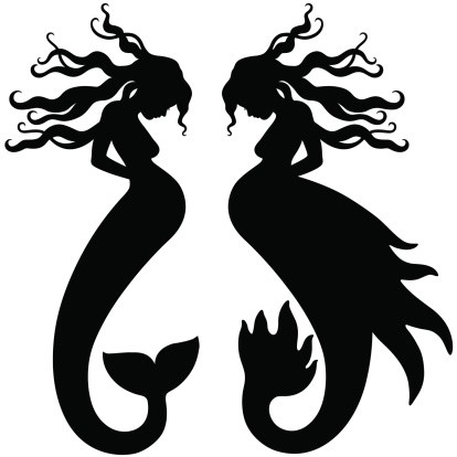 Charming black-ink pregnant mermaid silhouettes tattoo design