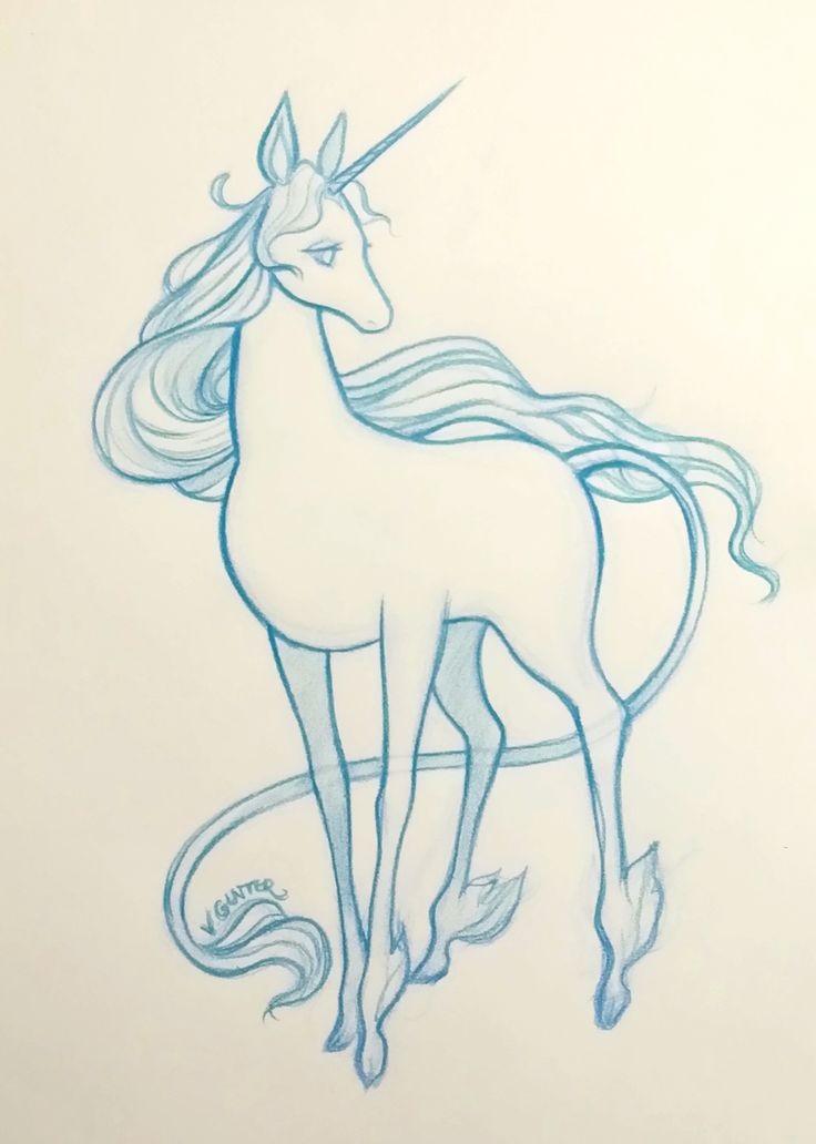Charming blue-ink unicorn tattoo design fot girls