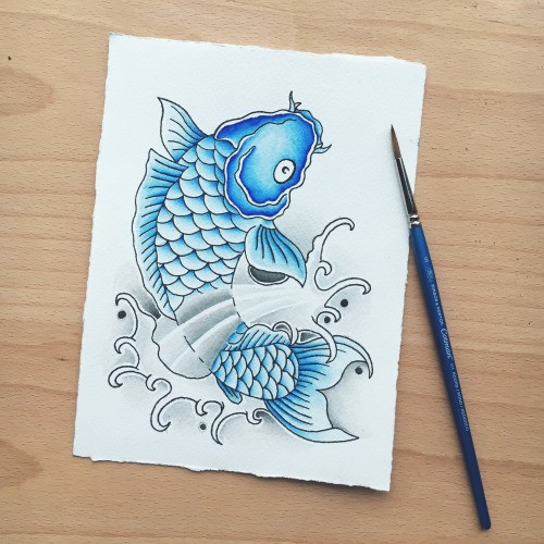 Charming blue koi fish tattoo design