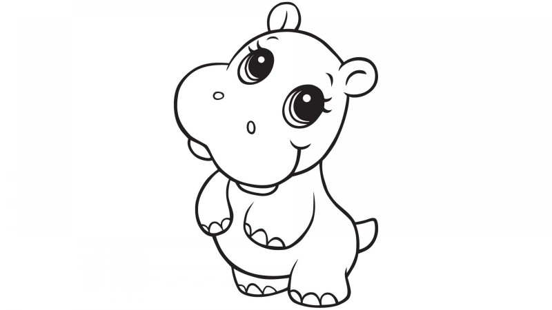 Charming cartoon outline hippo tattoo design
