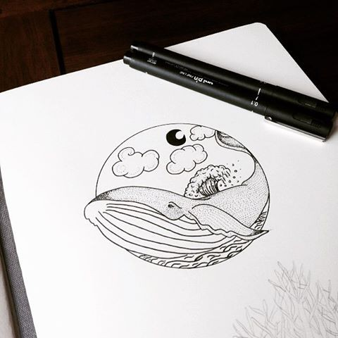 Charming cartoon whale under cloudy sky tattoo design