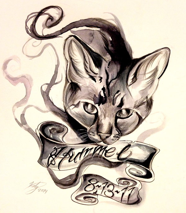 Charming cat with memorial date ribbon tattoo design by Lucky978