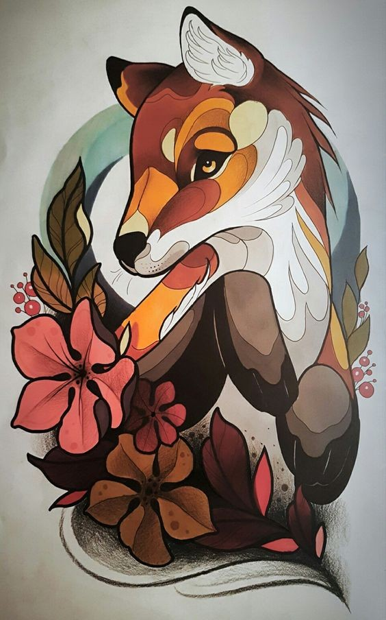 Charming colorful forest animal and ginger leaves tattoo design