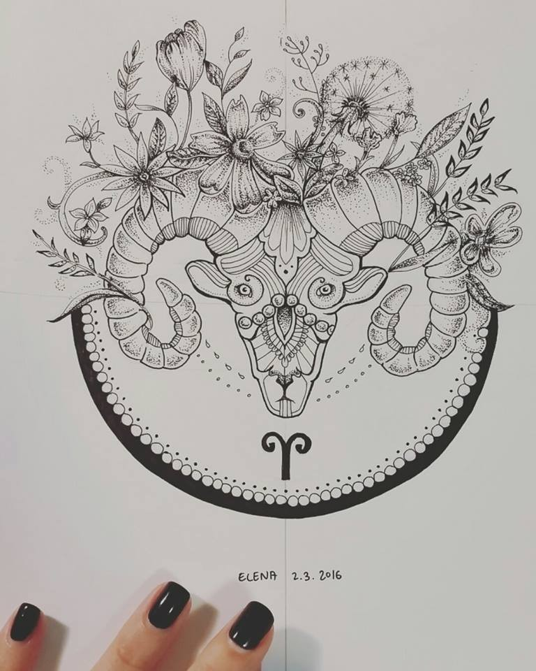 Charming decorated ram head with floral bouquet in blak circle tattoo design