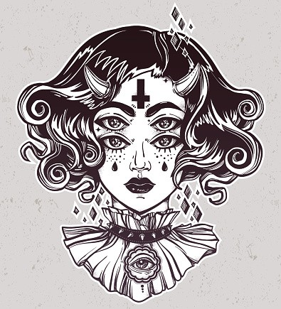 Charming devil girl with two rows of eyes and tiny horns near reversed cross tattoo design