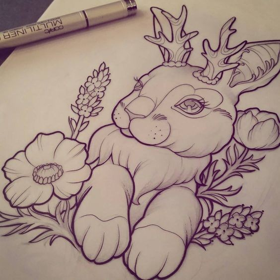Charming female rabbit with small wooden horns in herbs tattoo design