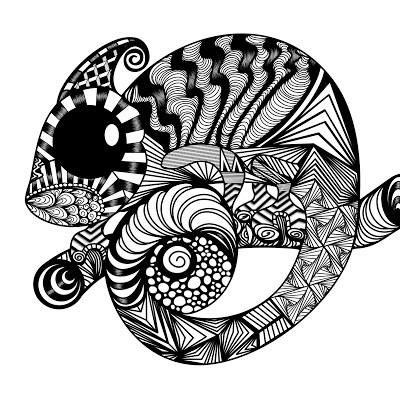 Charming giant black-eyed patterned reptile tattoo design