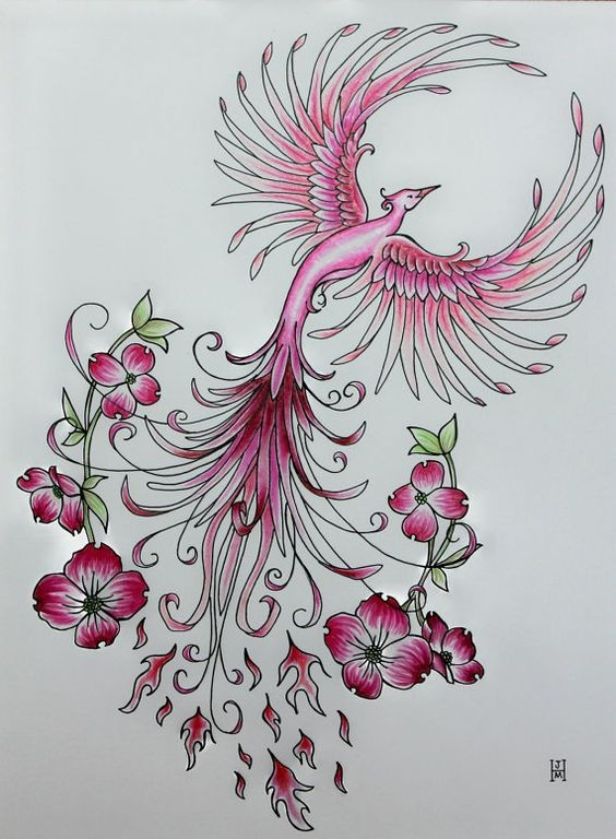 Charming girly ping phoenix surrounded with tiny flowers tattoo design