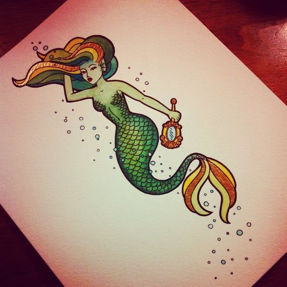 Charming green-scaled mermaid with golden mirror tattoo design