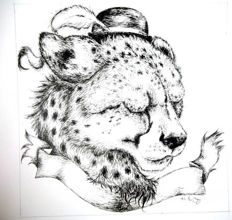 Charming grey-ink cheetah head in little hat with clear banner tattoo design by Raiynclowd