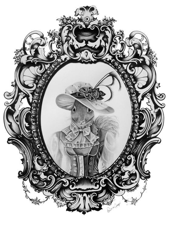 Charming grey-ink dressed lady squirrel in mirror frame tattoo design
