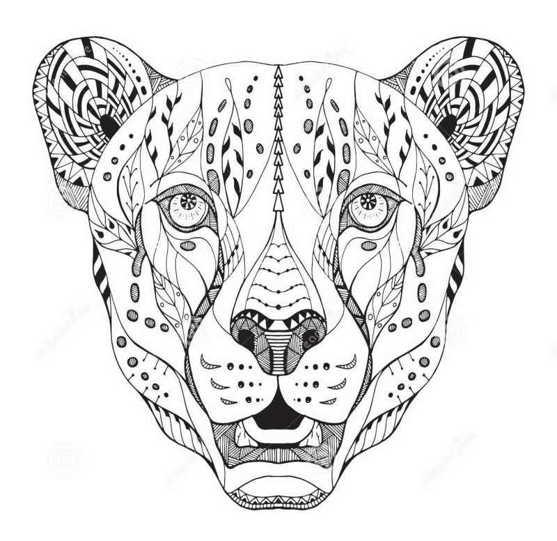 Charming grey-ink ornamented cheetah muzzle tattoo design