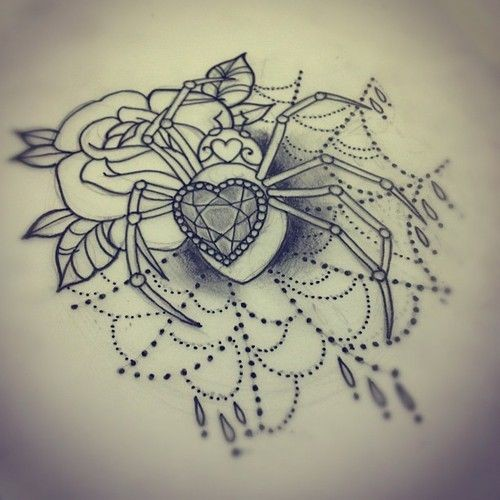 Charming lace spider decorated with heart-shape gem and roses tattoo design