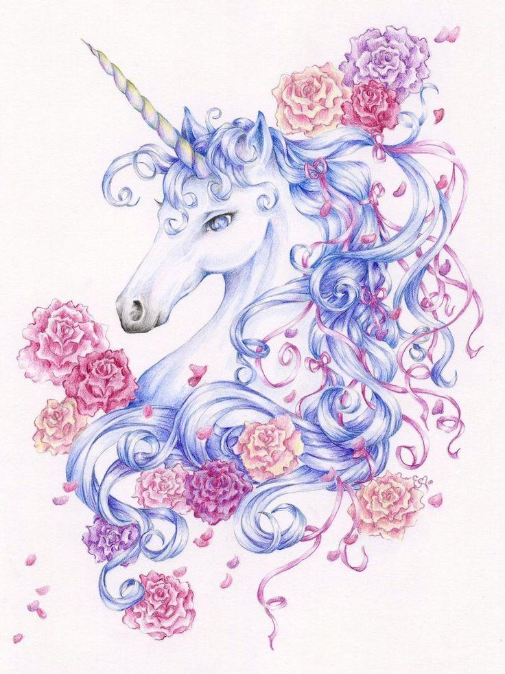 Charming light blue unicorn among flower buds tattoo design