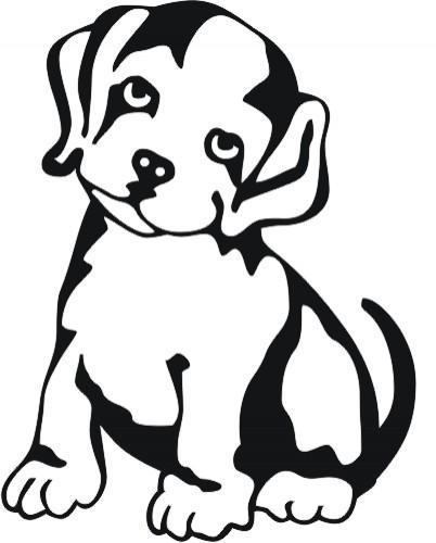 Charming little outline dog tattoo design