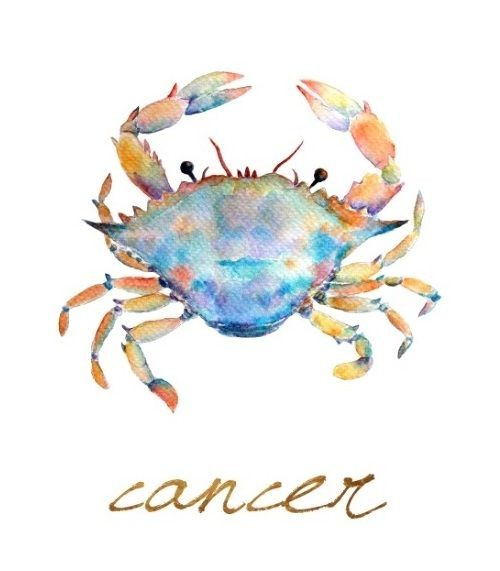 Charming montly watercolor crab with cencer quote tattoo design
