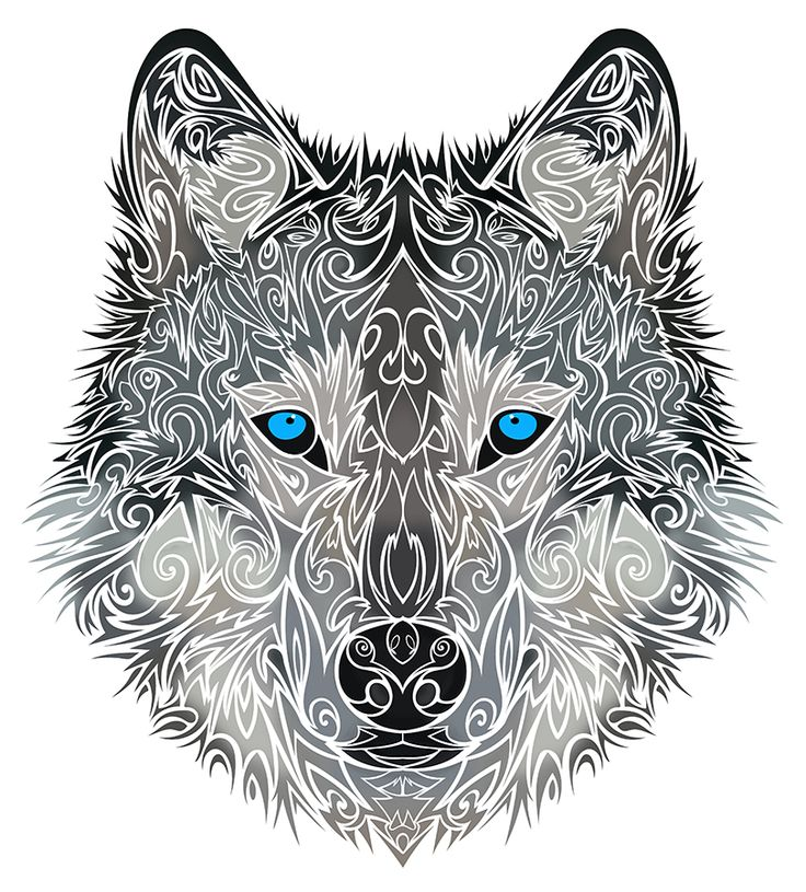 Charming ornamented blue-eyed wolf tattoo design