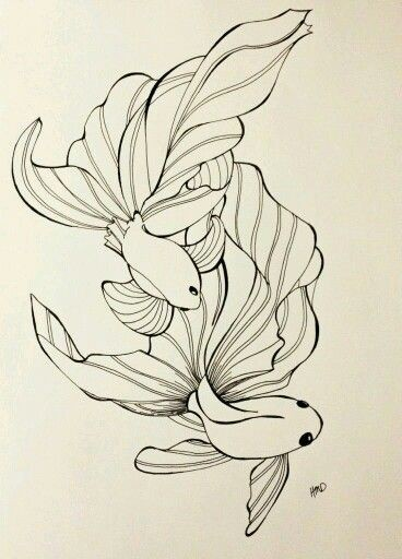 Charming outline gold fish couple tattoo design