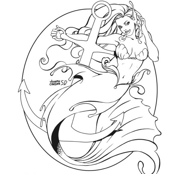 Charming outline mermaid entwining around the anchor tattoo design