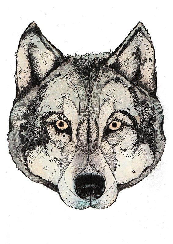 Charming pale yellow-eyed wolf muzzle tattoo design