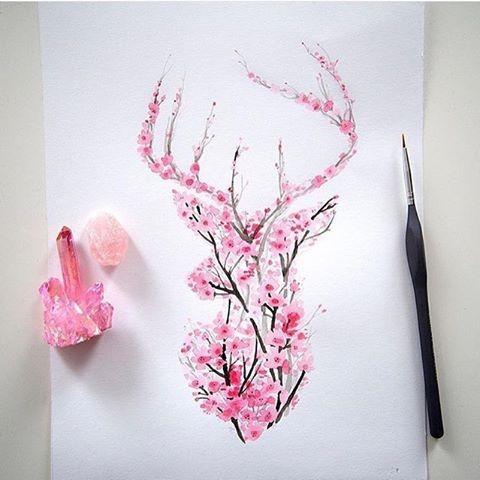 Charming pink cherry blossom deer tattoo design