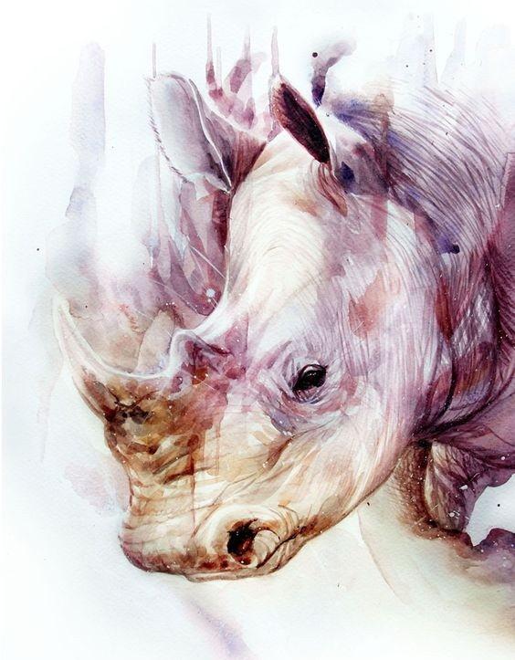 Charming purple watercolor rhino portrait tattoo design