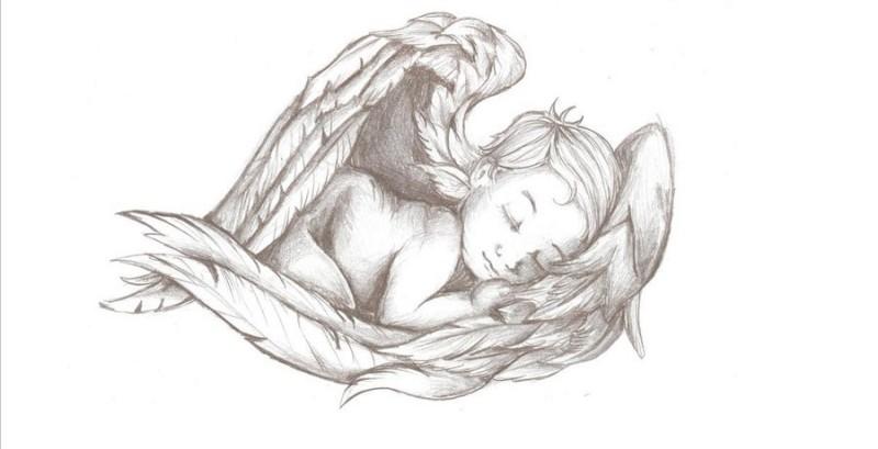 Charming sleeping baby angel tattoo design