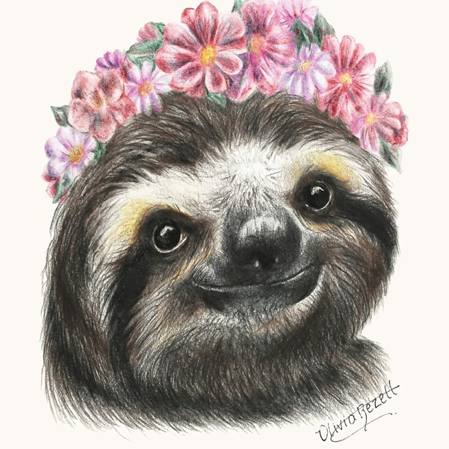 Charming smiling sloth in pink flower wreath tattoo design