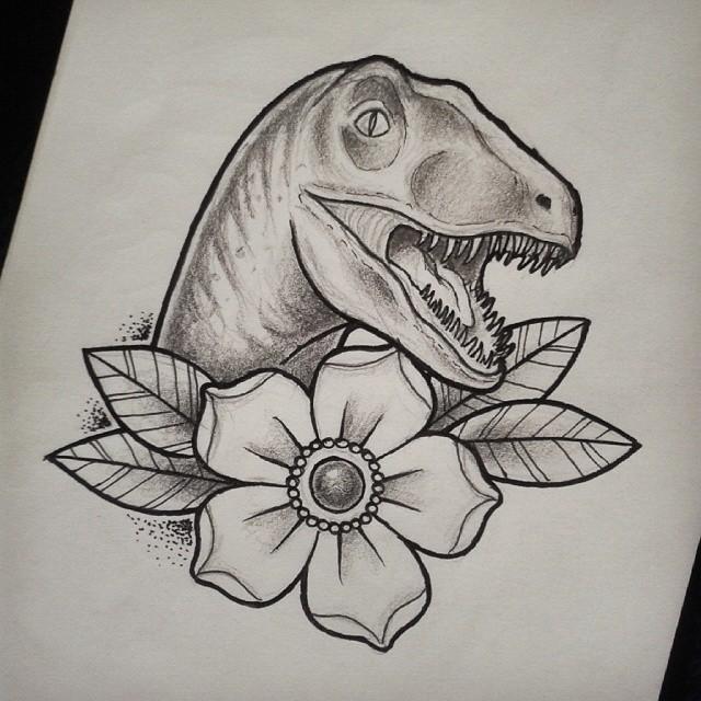 charming traditional dinosaur portrait with huge flower tattoo design. Black Bedroom Furniture Sets. Home Design Ideas