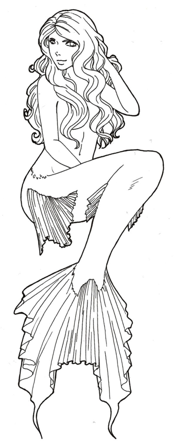 Charming uncolored sitting mermaid tattoo design