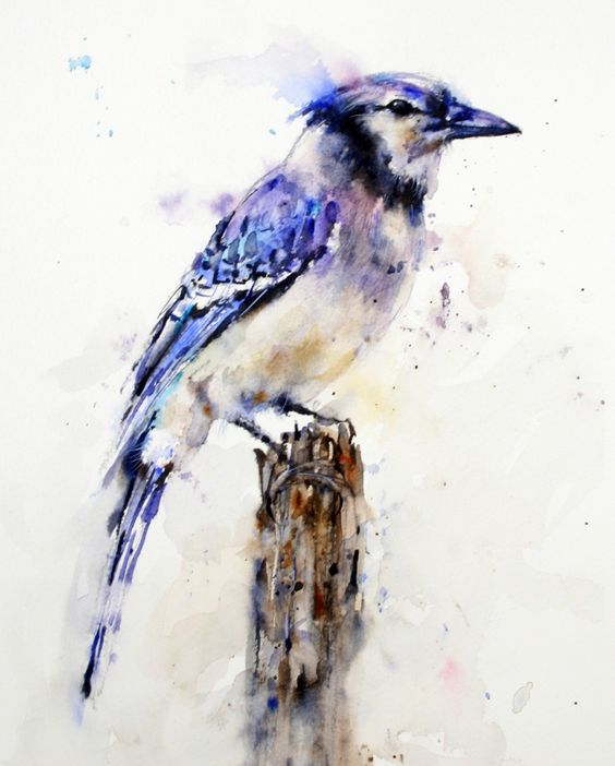 Charming watercolor bird sitting on stump tattoo design