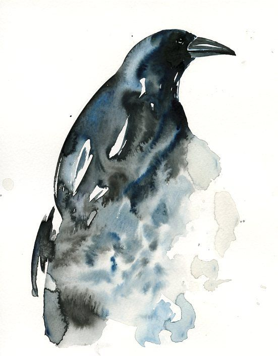 Charming waterolor raven tattoo design