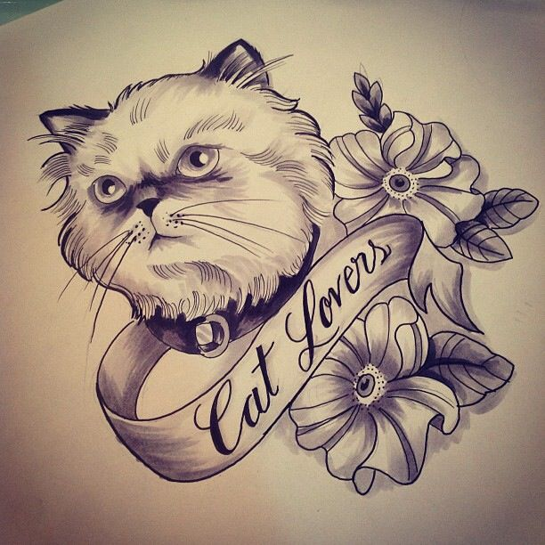 Charming white cat with flowers and quoted ribbon tattoo design