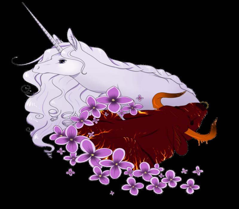 Charming white unicorn and burgundy bull with purple flowers tattoo design by Kohaku Miharu