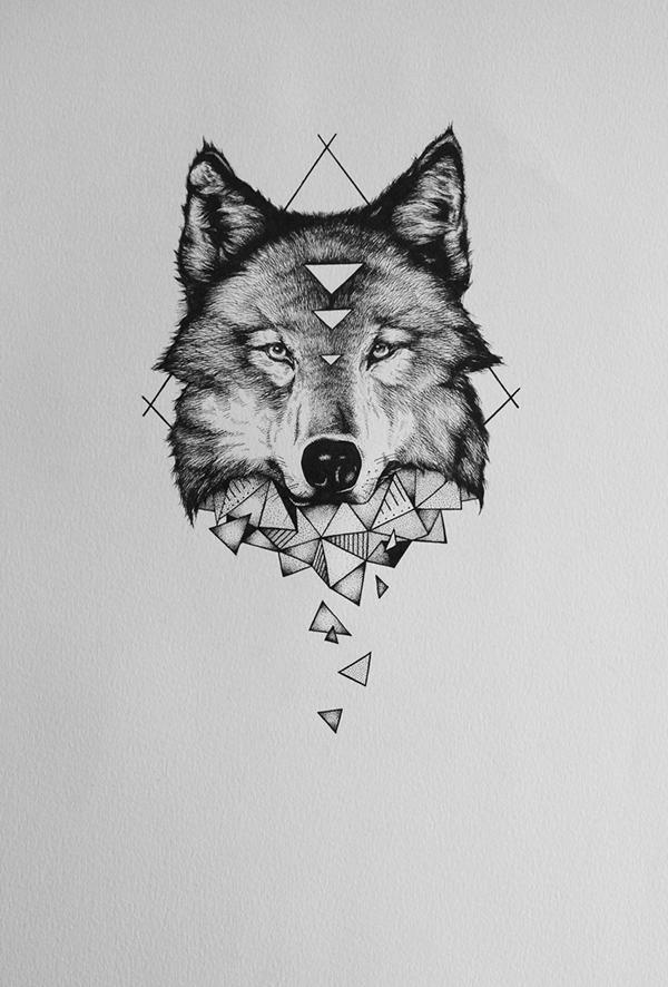 Charming wolf head on geometric drawings tattoo design