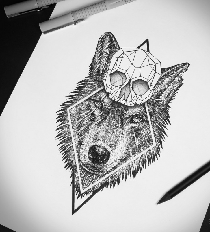 charming wolf with a geometric skull in rhombus frame tattoo design. Black Bedroom Furniture Sets. Home Design Ideas