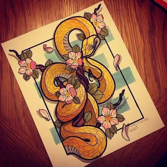 Charming yellow snake and cherry blossom tattoo design