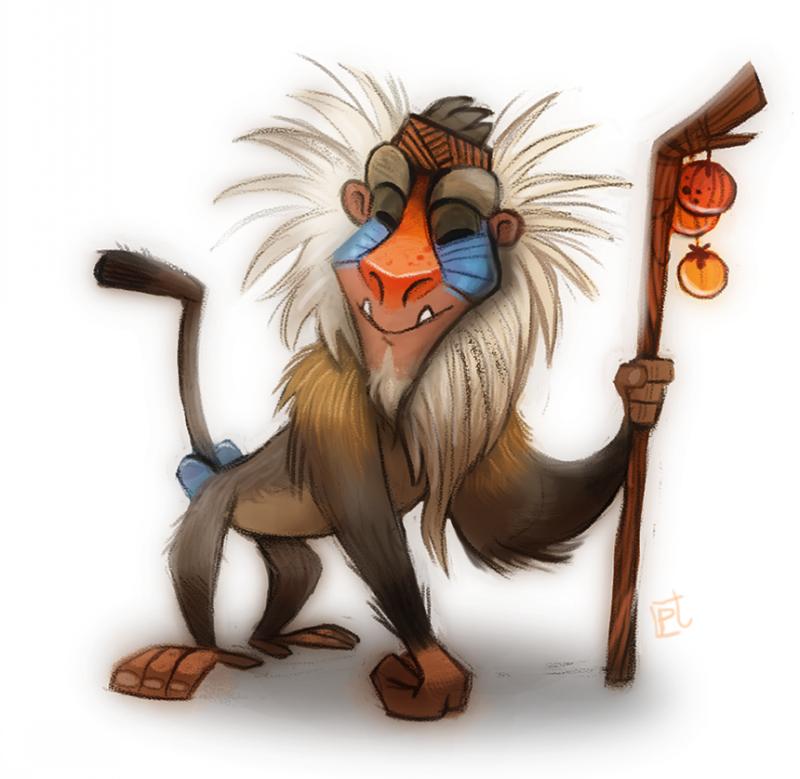 Cheerful animated colorful baboon tattoo design