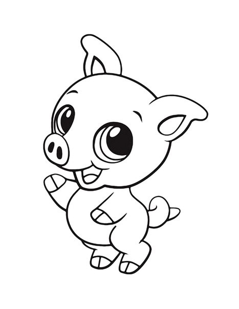 Cheerful animated outline baby pig tattoo design
