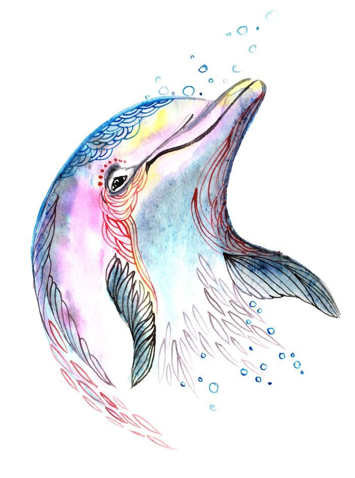 Cheerful colorful-printed swimming water animal tattoo design