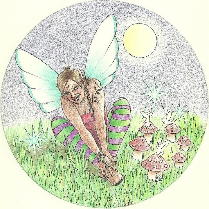 Cheerful colorful fairy sitting on the lawn beneath sininng moon tattoo design