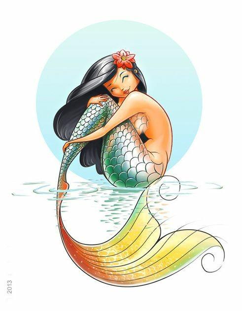 Cheerful colorful hawaiian sitting mermaid tattoo design