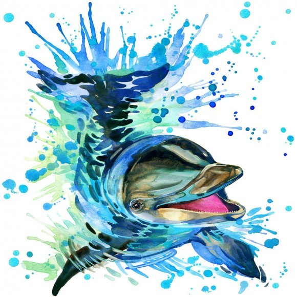 Cheerful dolphin swimming in splashed water tattoo design