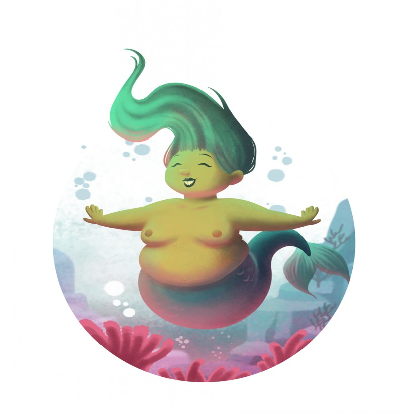 Cheerful green mermaid diving on weed ocean bottom tattoo design