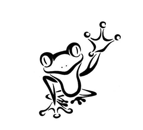 Cheerful outline frog waving with its leg tattoo design