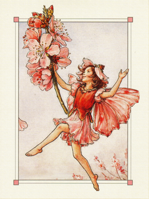 Cheerful red-dressed fairy with cherry blossom branch tattoo design