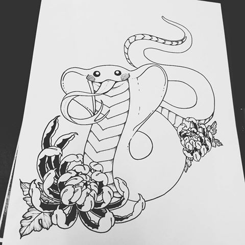Cheerful uncolored reptile and huge peony flowers tattoo design